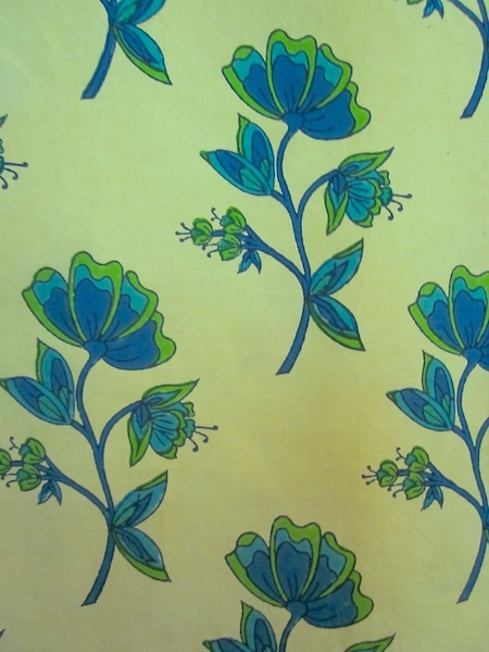 flower - citronnelle / hand blocked cotton-linen