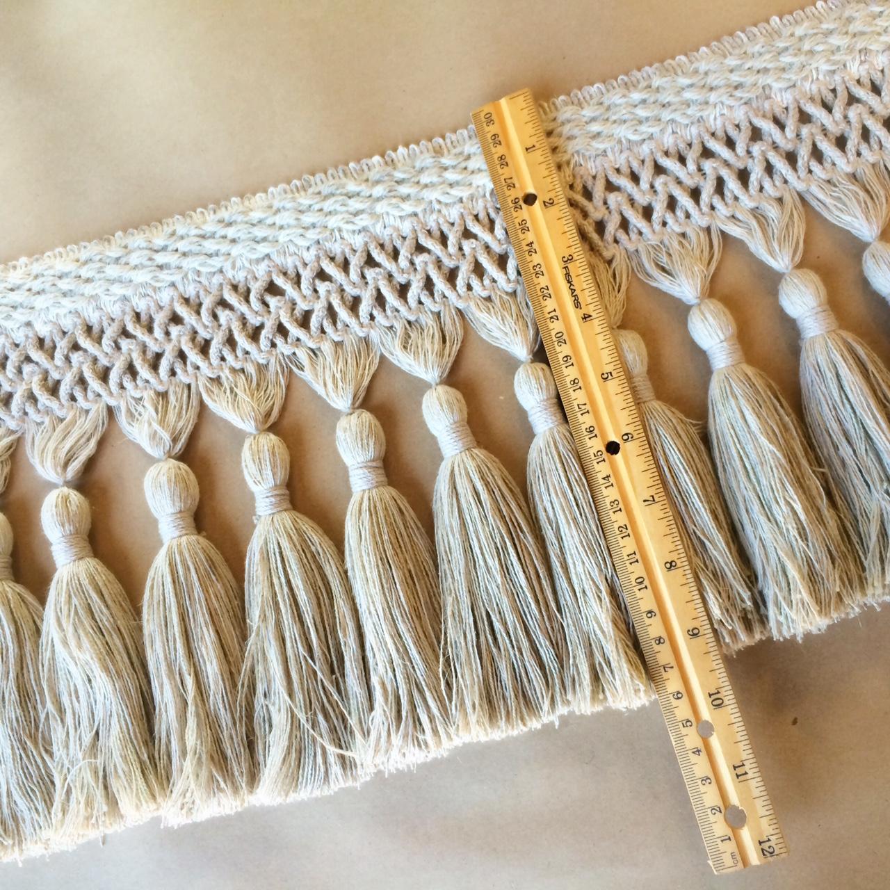 "Bijoux 9"" Tassel Fringe Linen Melange - 230MM WIDE"
