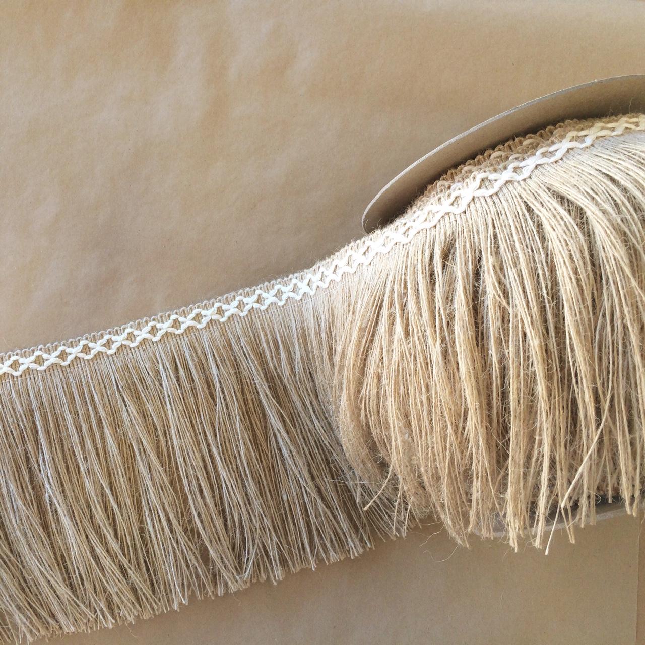 "Jute 8"" Diamond Fringe Natural Cotton 200mm wide"