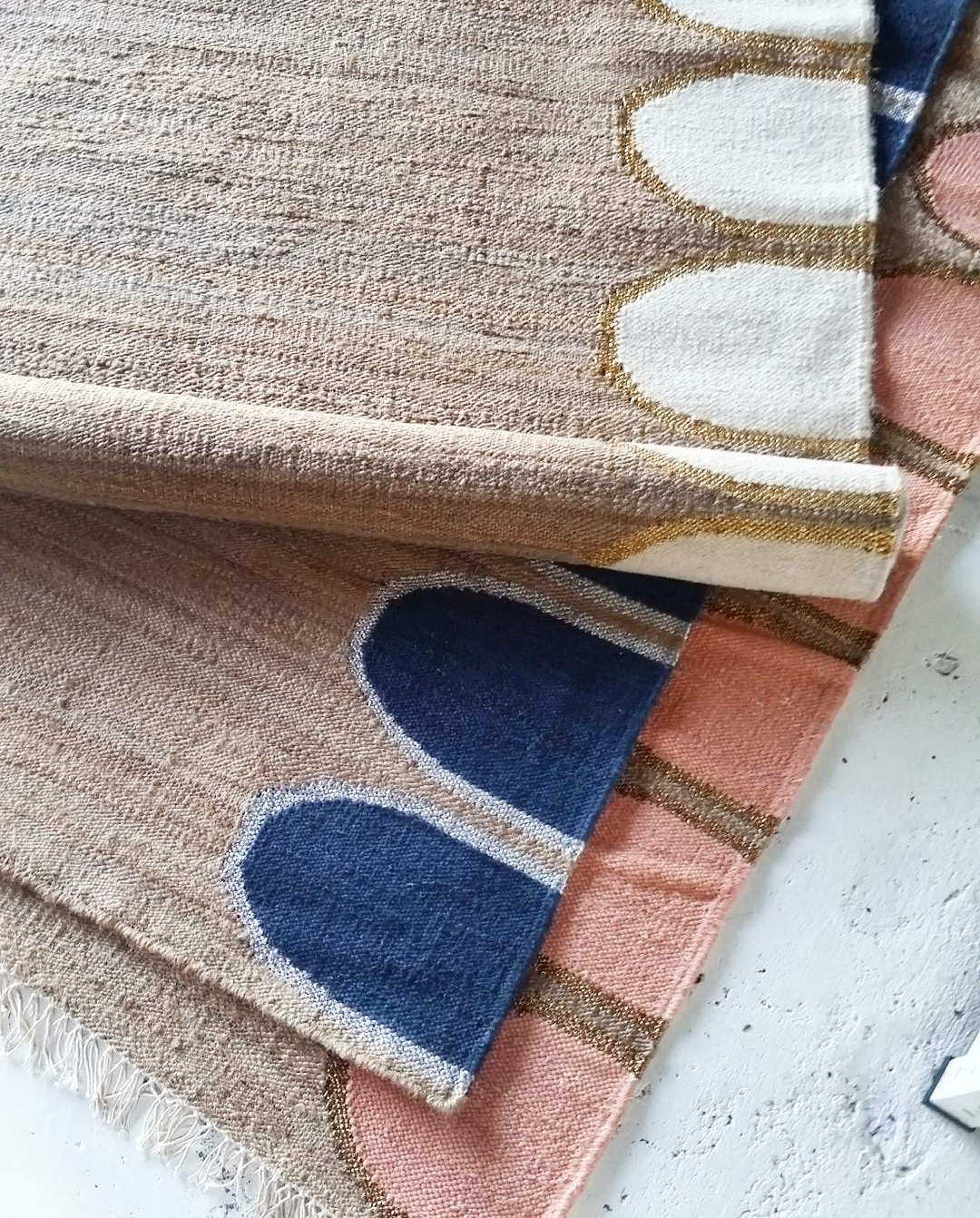 THE WANDERER RUG  AVAILABLE IN THREE COLOURS:  JUTE/BLUSH/COPPER     JUTE/INDIGO/SILVER     JUTE/NATURAL/GOLD