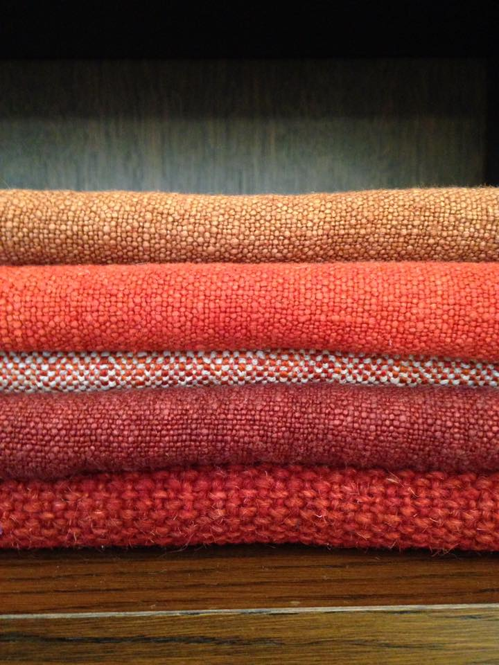 Bruder & Co Rust Toned Fabric Stack of Linen Upholstery Fabric