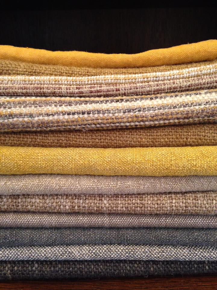 Bruder & Co Natural Toned Fabric Stack of Linen Upholstery Fabric