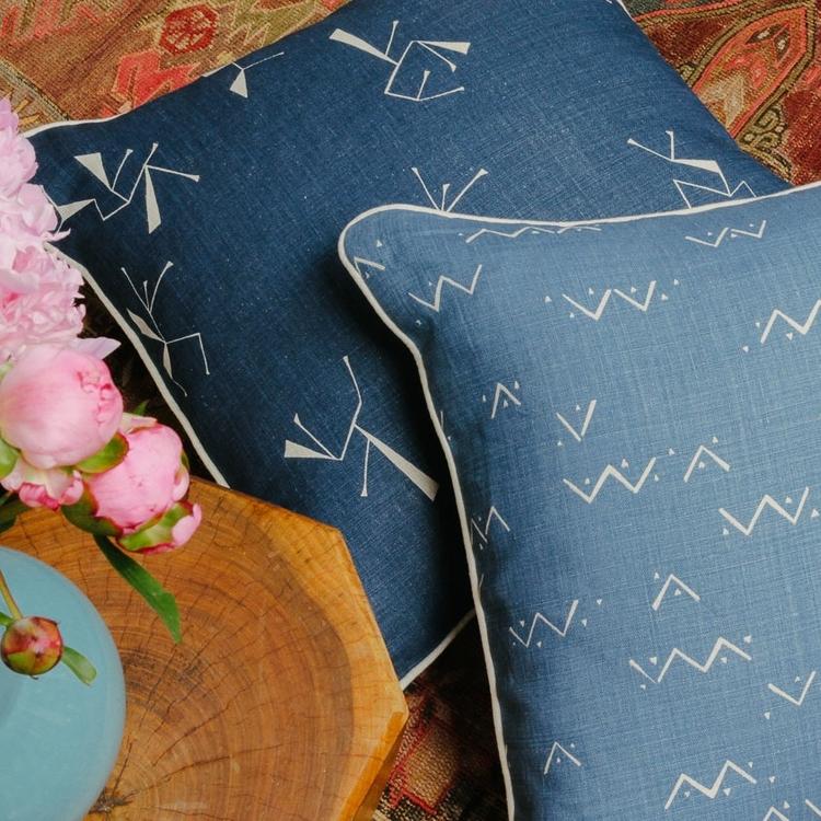 Ituri Field Midnight and Loxo Field Indigo Cushions