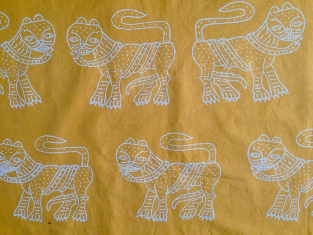 farima orangeade / discharge print on cotton-linen