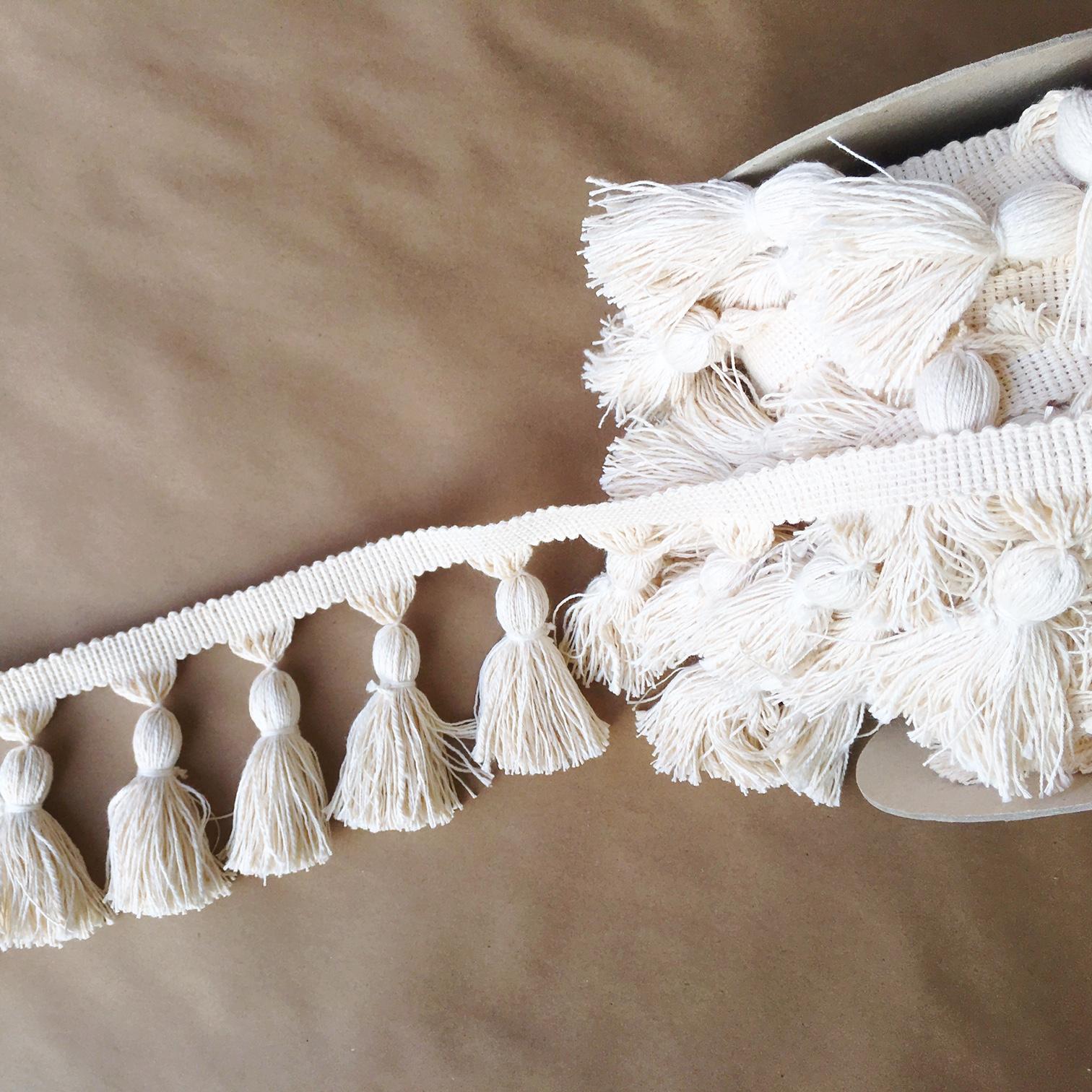 "5"" Chunky Tassel Fringe Natural Cotton"