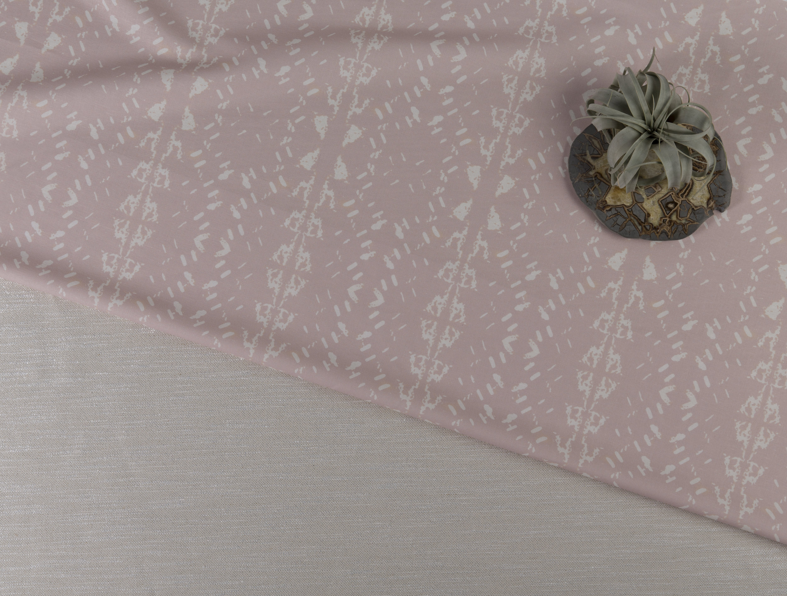 Native Embers Bleached Rose & Pearl Lustrous Woven Eco-blend Fabrics