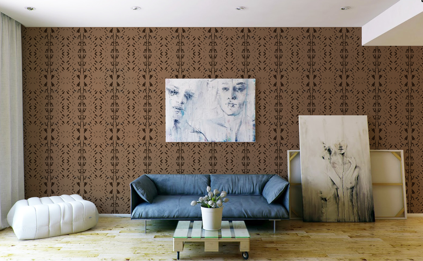 Native Embers Stone Wallpaper Installed