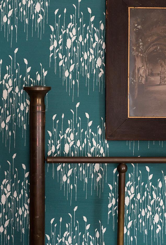 Phragmites Teal Grasspaper Wallpaper