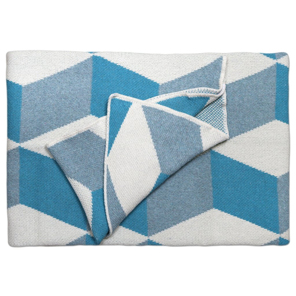 Taormina Azure Cotton Throw Blanket