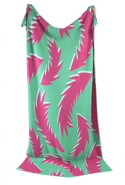 Mint & Hot Pink Feather Lambswool Blanket