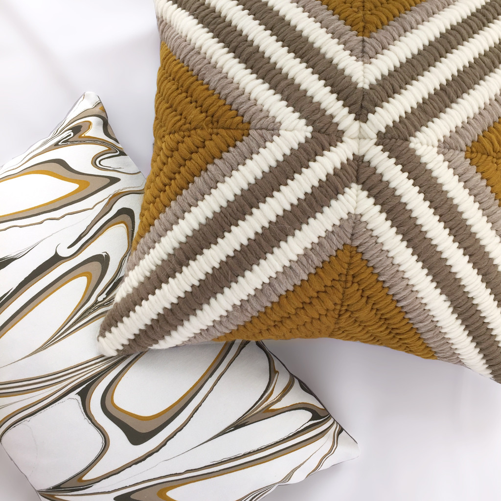Ochre Marbled & Textured Pillows