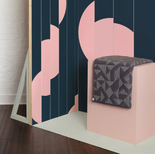 Offset - Navy - feature wall