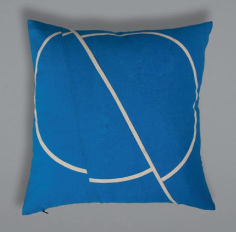 Offset Cushion - Blue+Cream
