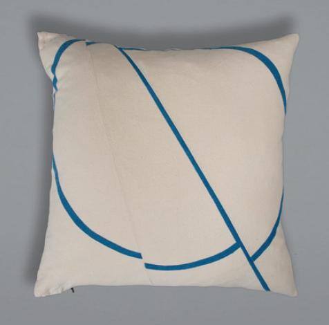 Offset Cushion - Cream+Blue