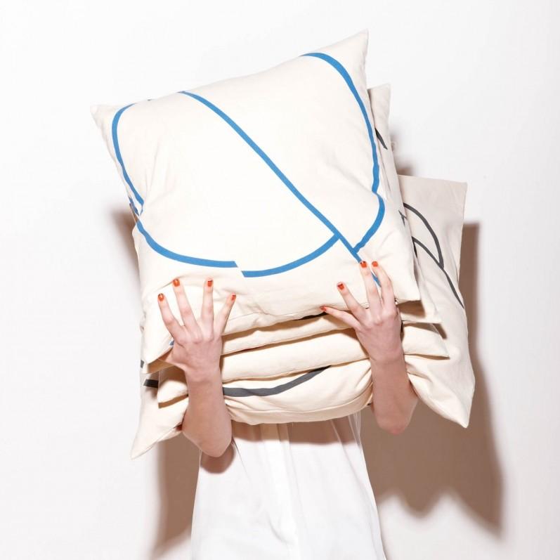 Offset Cushions - Cream+Blue & Cream+Black