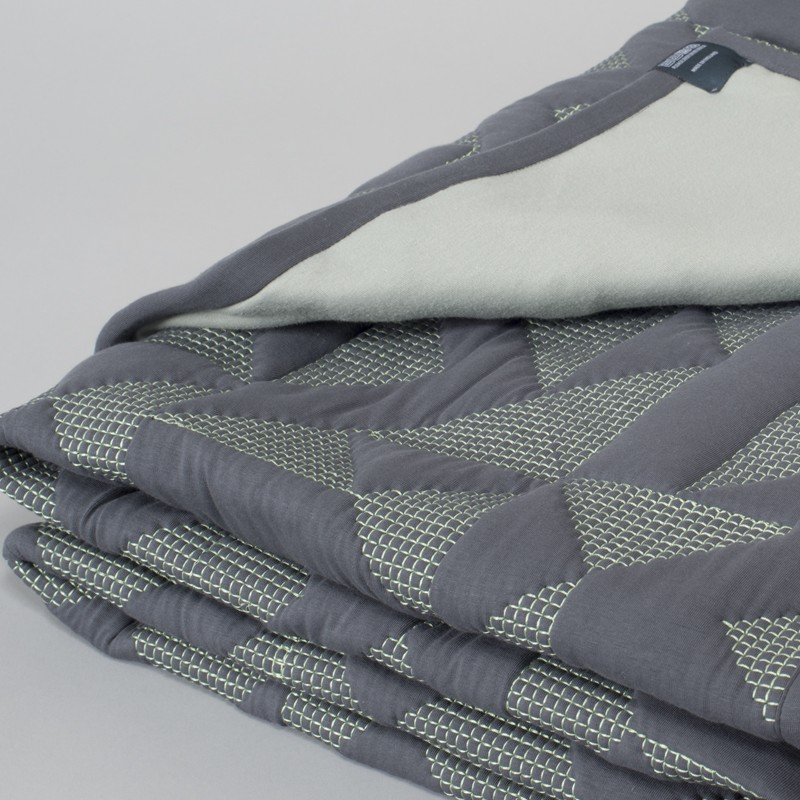 Goldmsiths Quilt - Grey with Green Stitching
