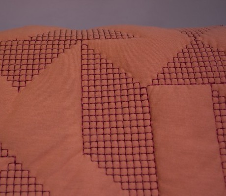 Goldsmiths Floor Cushion - Pink with Red Stitching