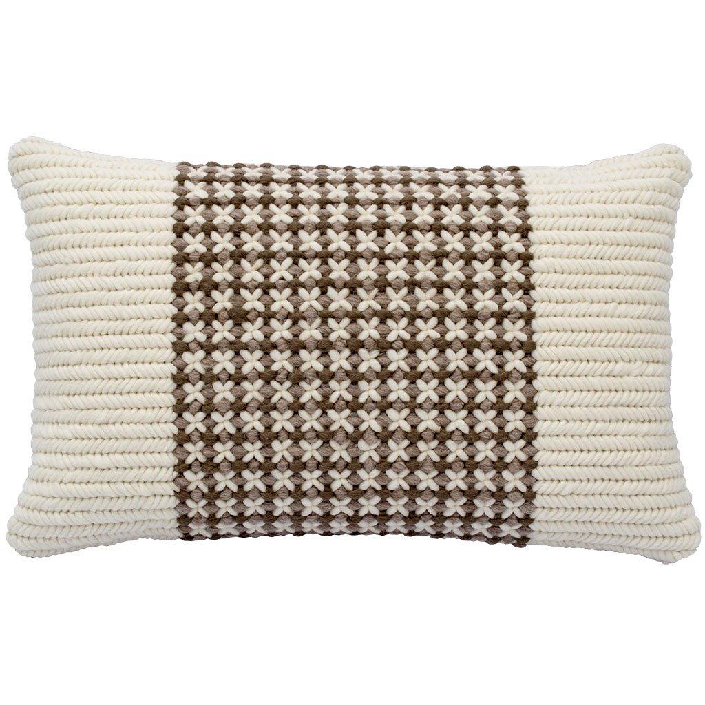 Textured Pillow Soft Brown Trellis