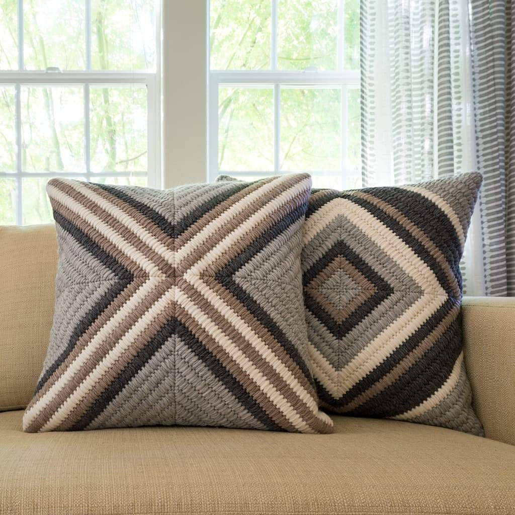 Textured Pillows - Gray Cross and Navy Blue Diamond