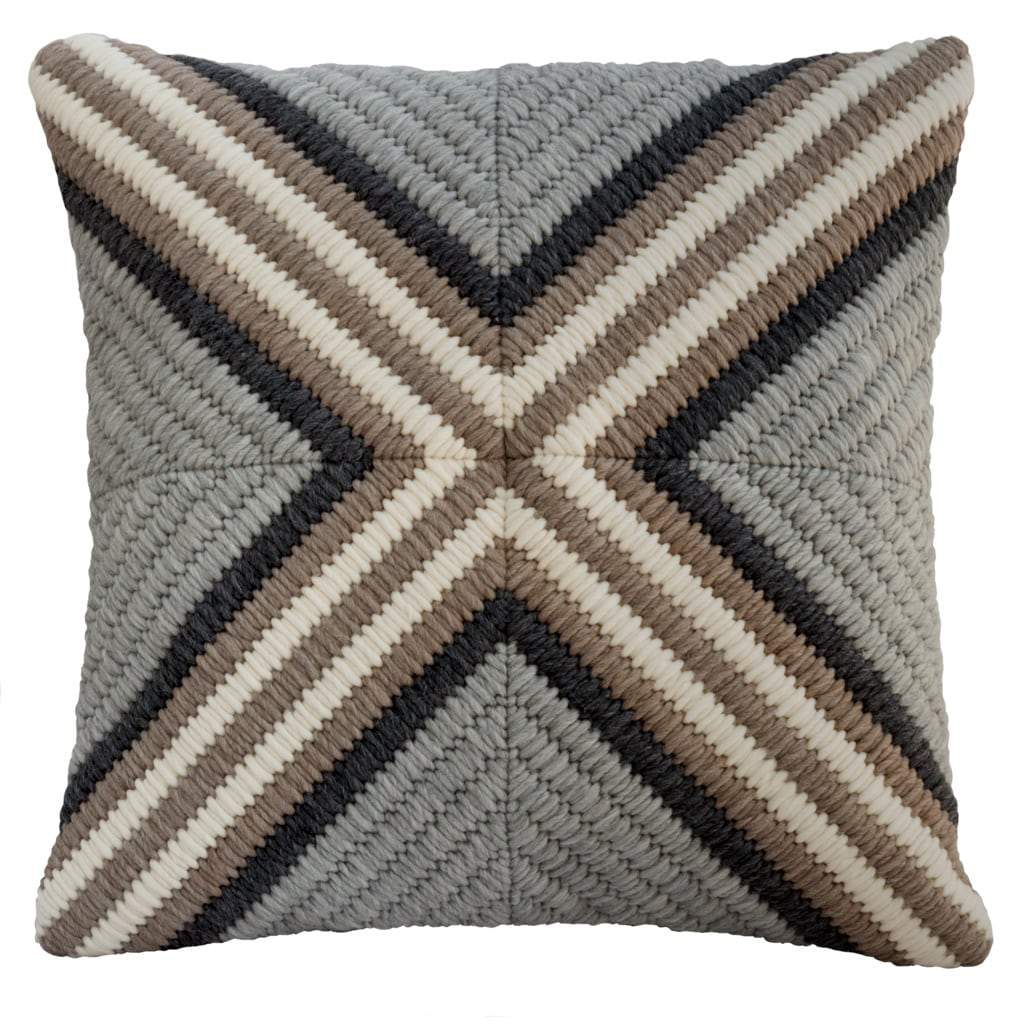 Textured Pillow Gray Cross