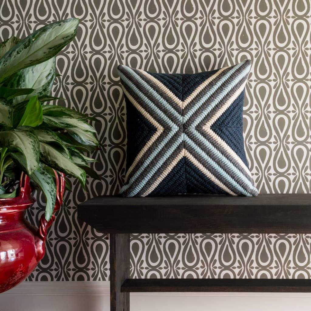 Textured Pillow Navy Blue Cross and Drop On Over Wallpaper Stone