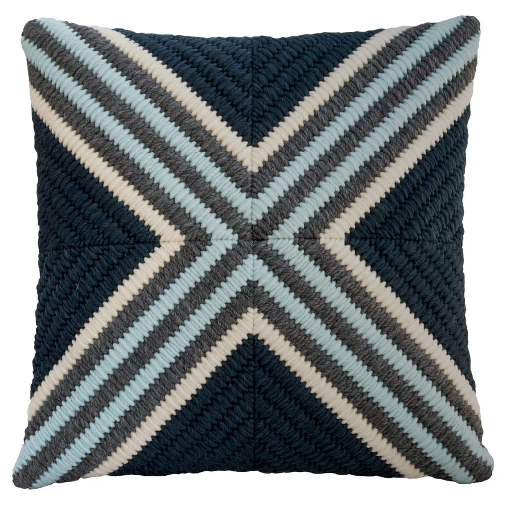 Textured Pillow Navy Blue Cross