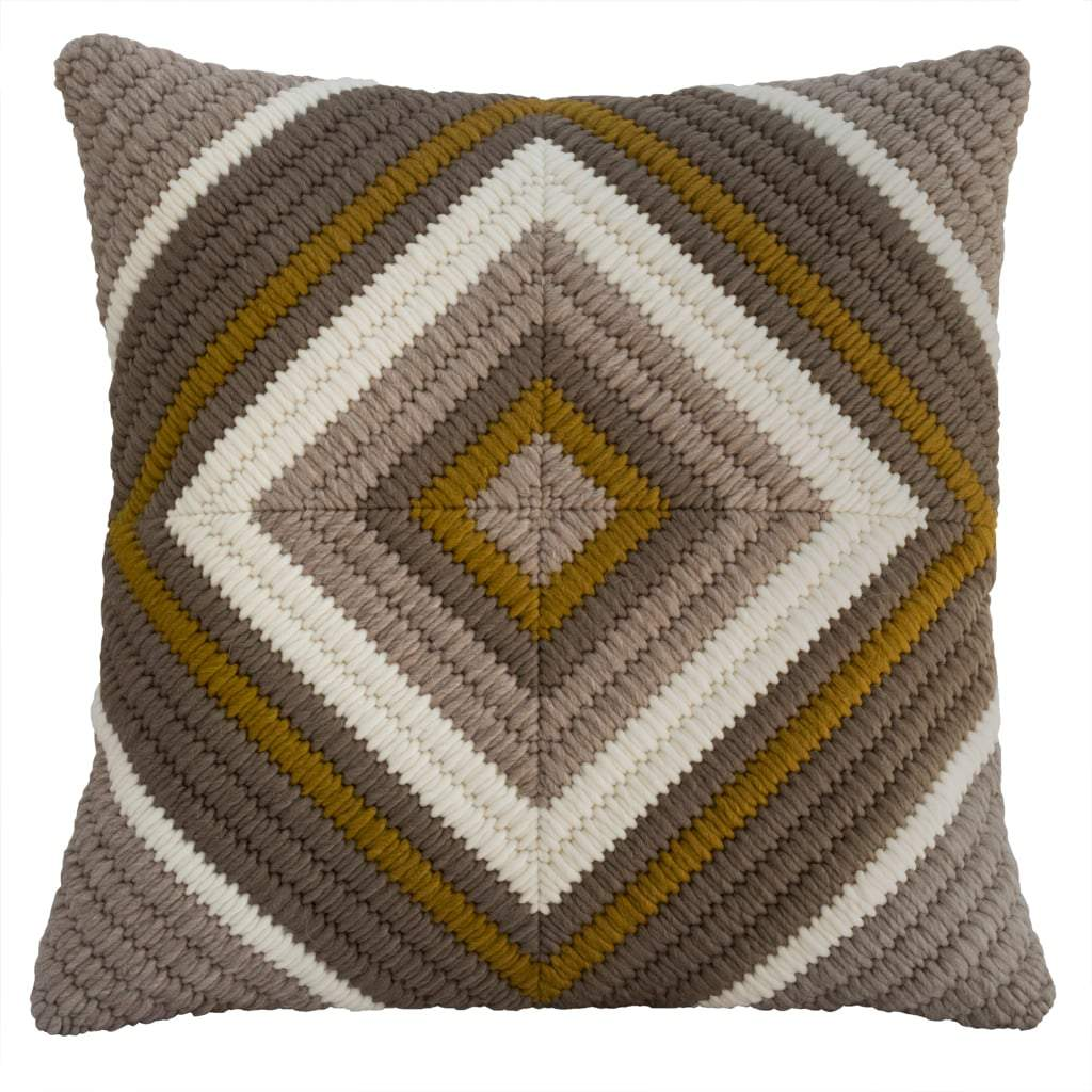 Textured Pillow Ochre Diamond