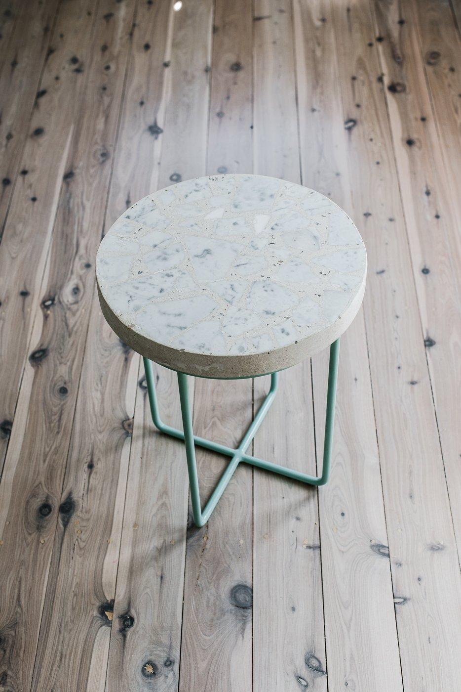 Alpha 01 Terrazzo Side Table Mint Legs