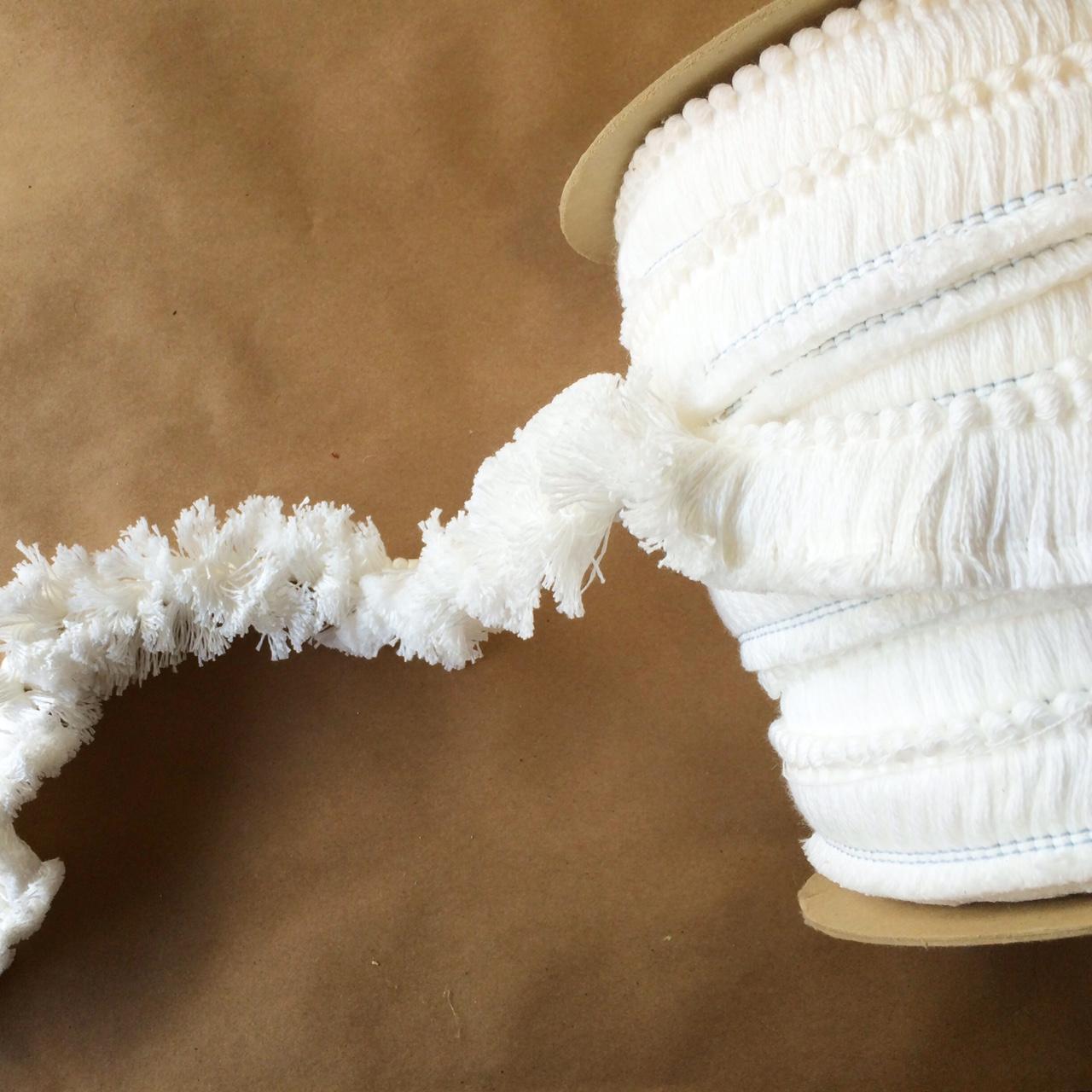 "1.5"" Brush Cut Fringe Bleached White"