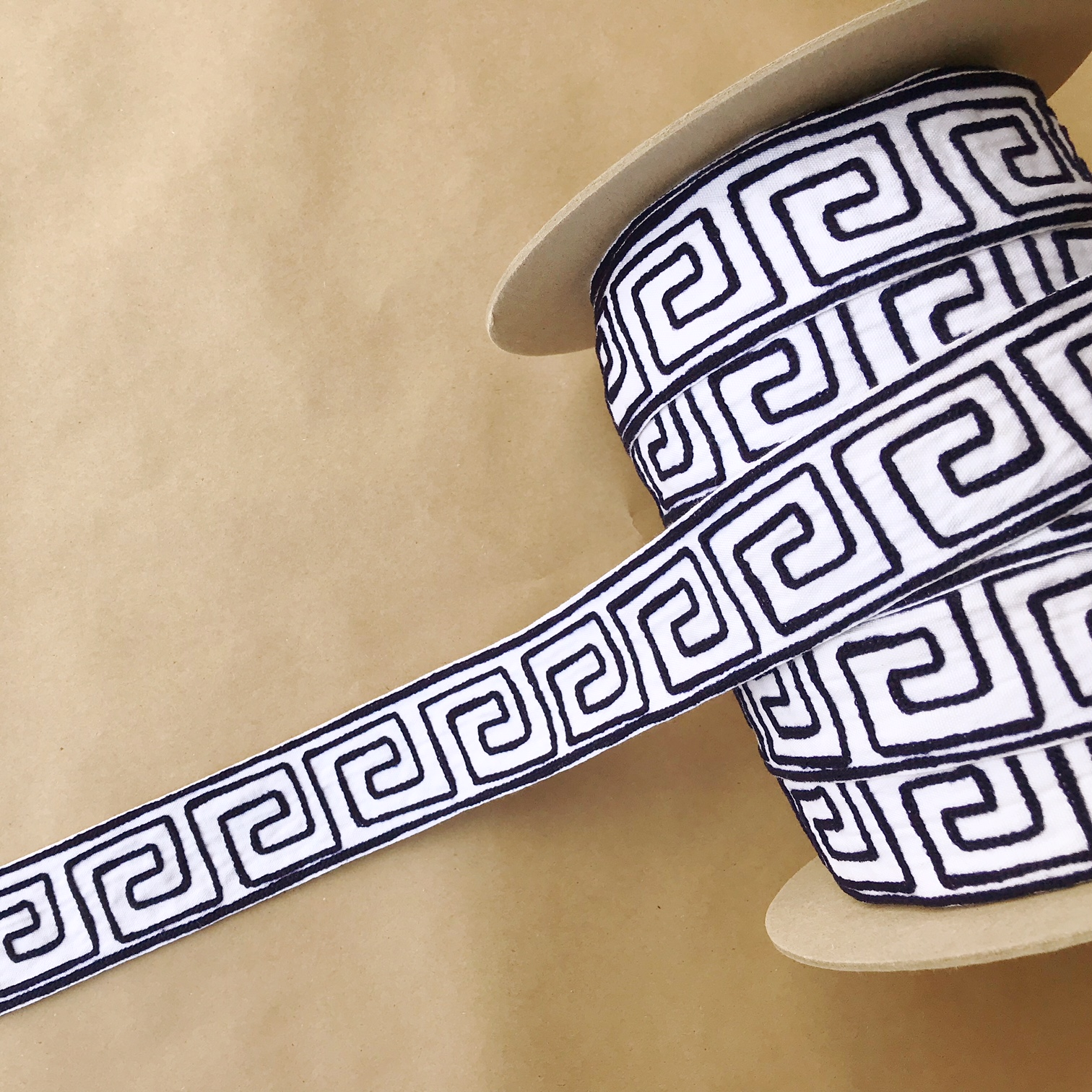"Organic Greek Key 2"" Hermes (Dark Navy)"