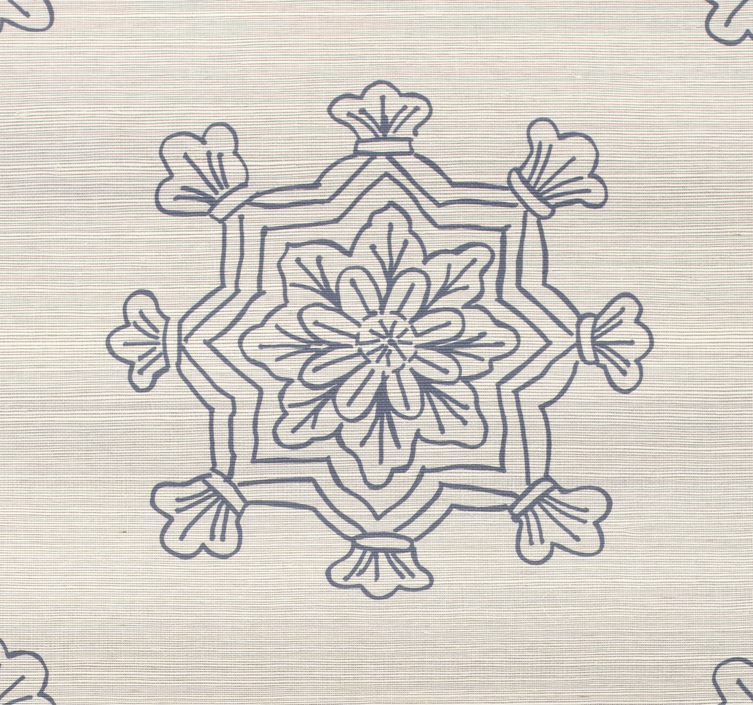 Madeleine Medallion Grasscloth Wallpaper close up - Indigo on Twilight