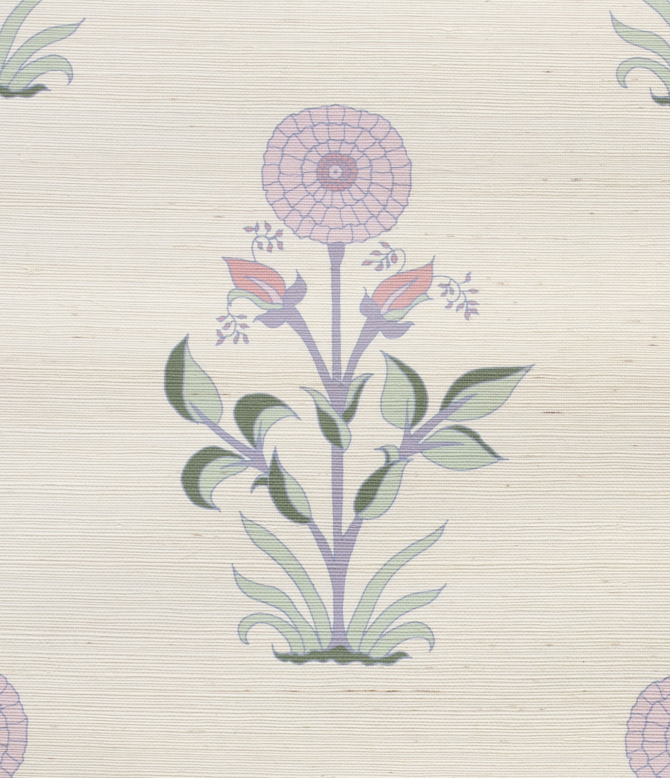 Large Marigold Grasscloth Wallpaper detail - Clover/Lavender/Coral