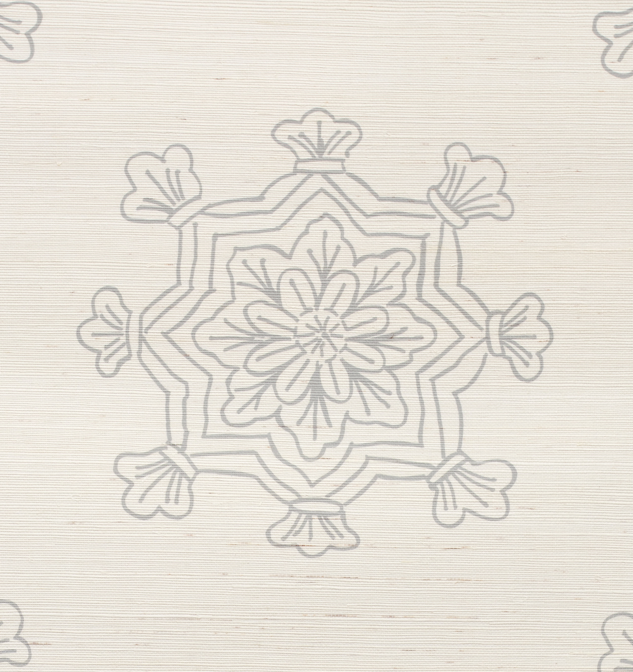 Madeleine Medallion Grasscloth Wallpaper close up - Stone