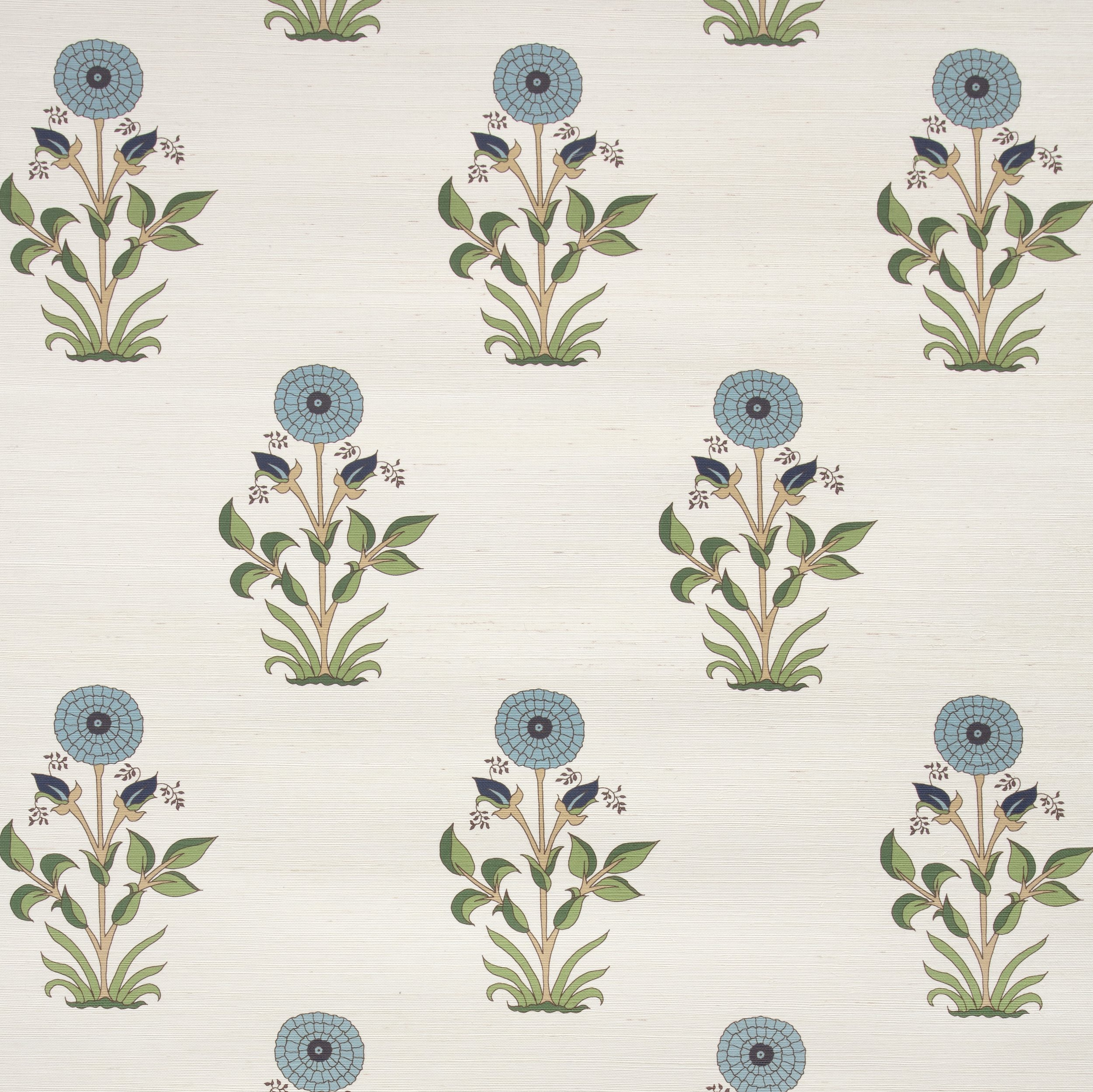 Large Marigold Grasscloth Wallpaper - Sky/Indigo