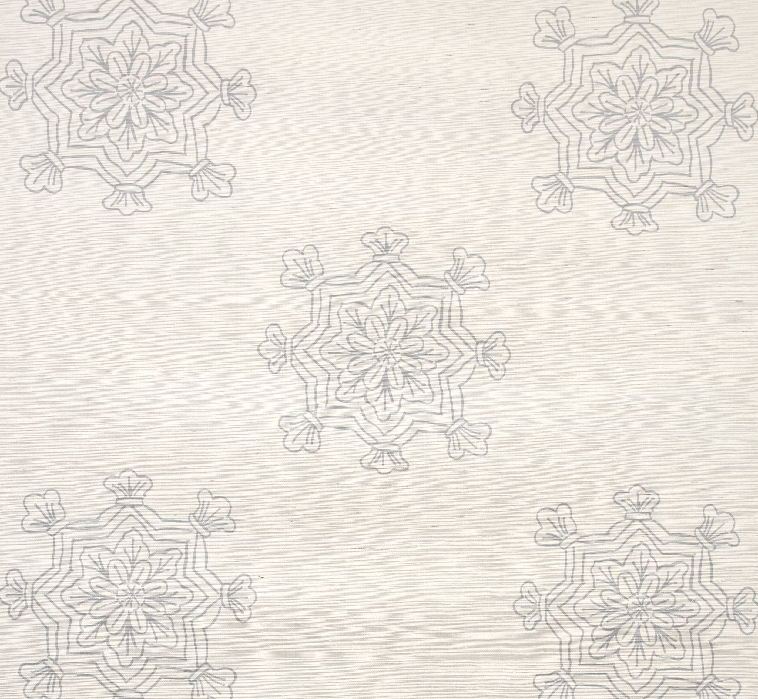 Madeleine Medallion Grasscloth Wallpaper -  Stone
