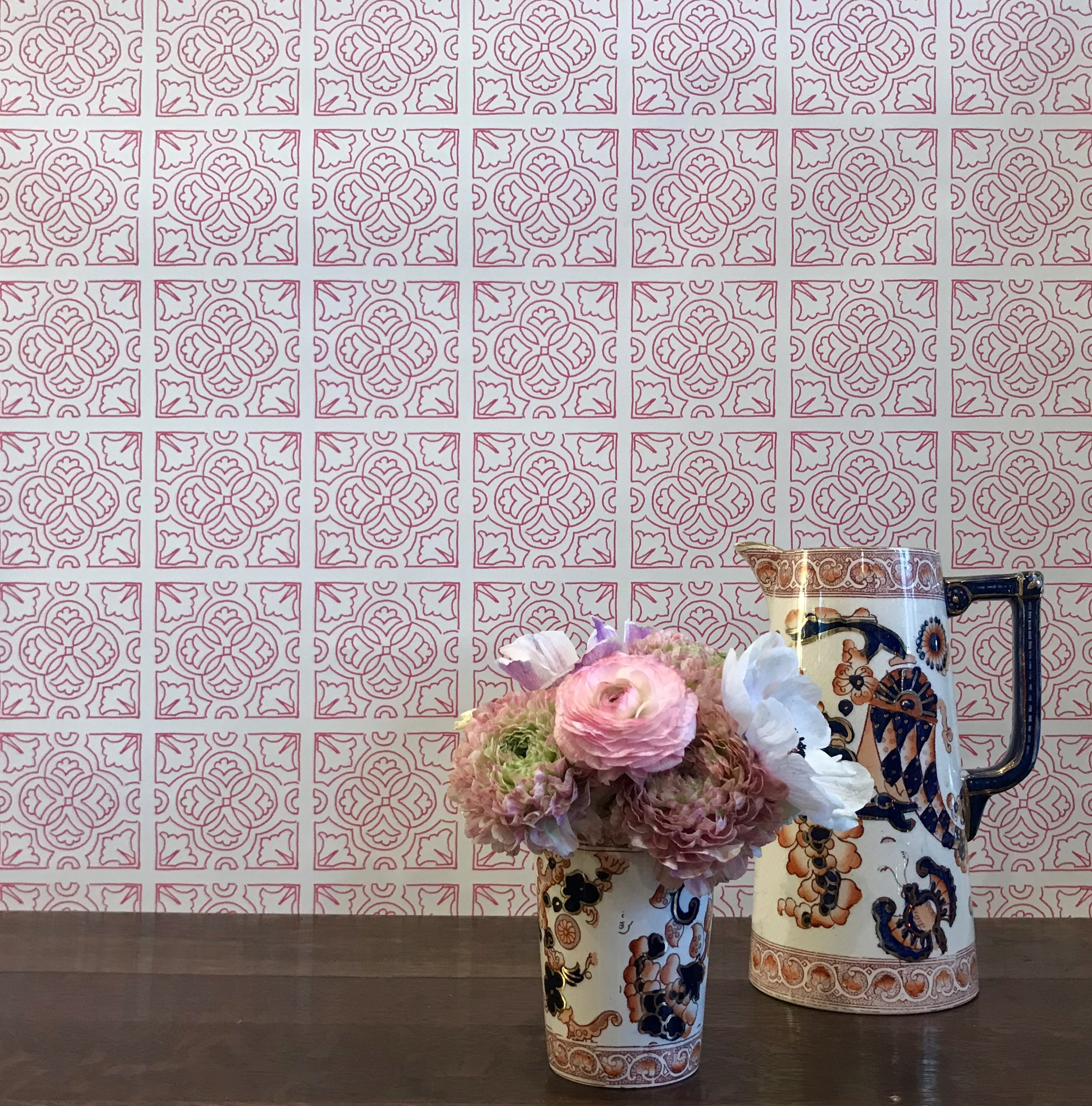 Irish Tile Wallpaper - Fuchsia
