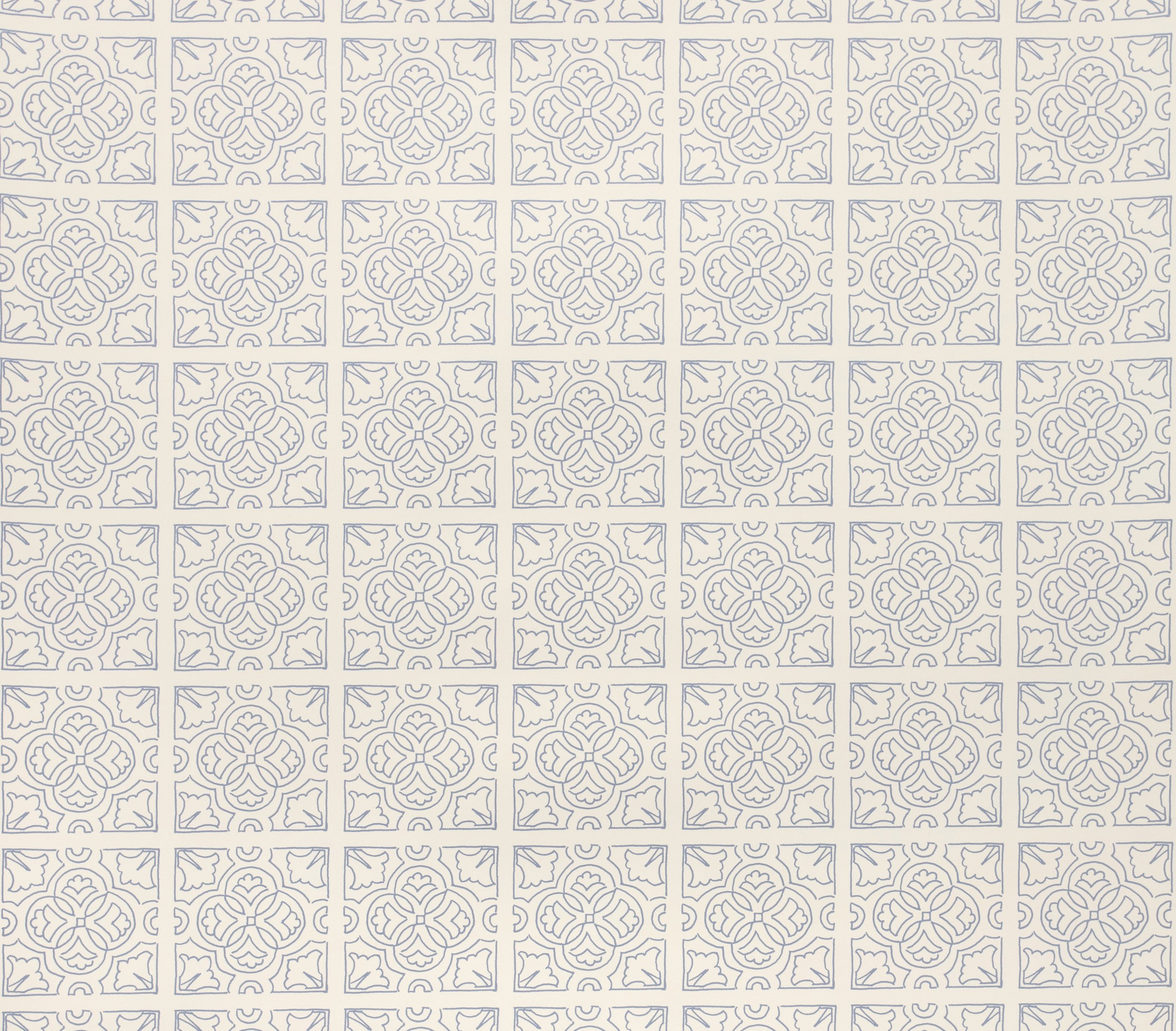 Irish Tile Wallpaper - Wedgewood Blue