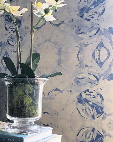 411 Blue Grey Grasscloth