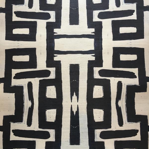 81613 Black White Grasscloth