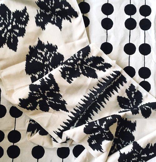 Black Flower Adras Silk