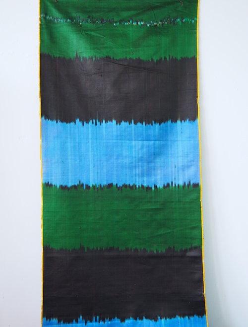Sky Blue, Green, Black Stripe