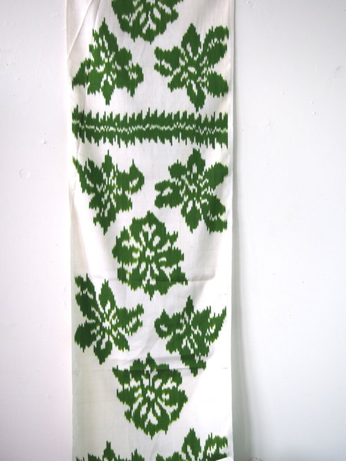 Green Flower Adras Silk