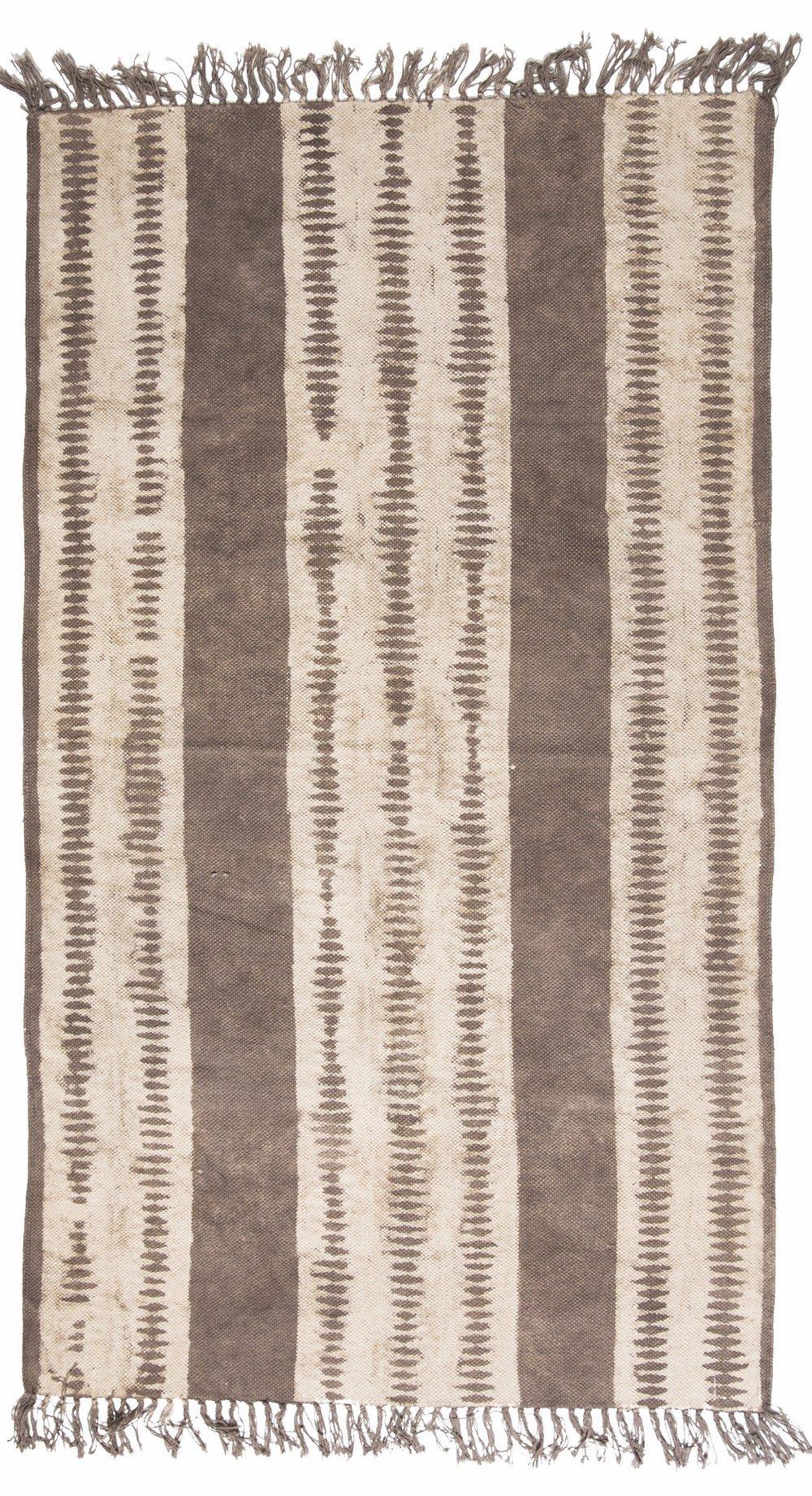 Ikat Block Printed Cotton Rug