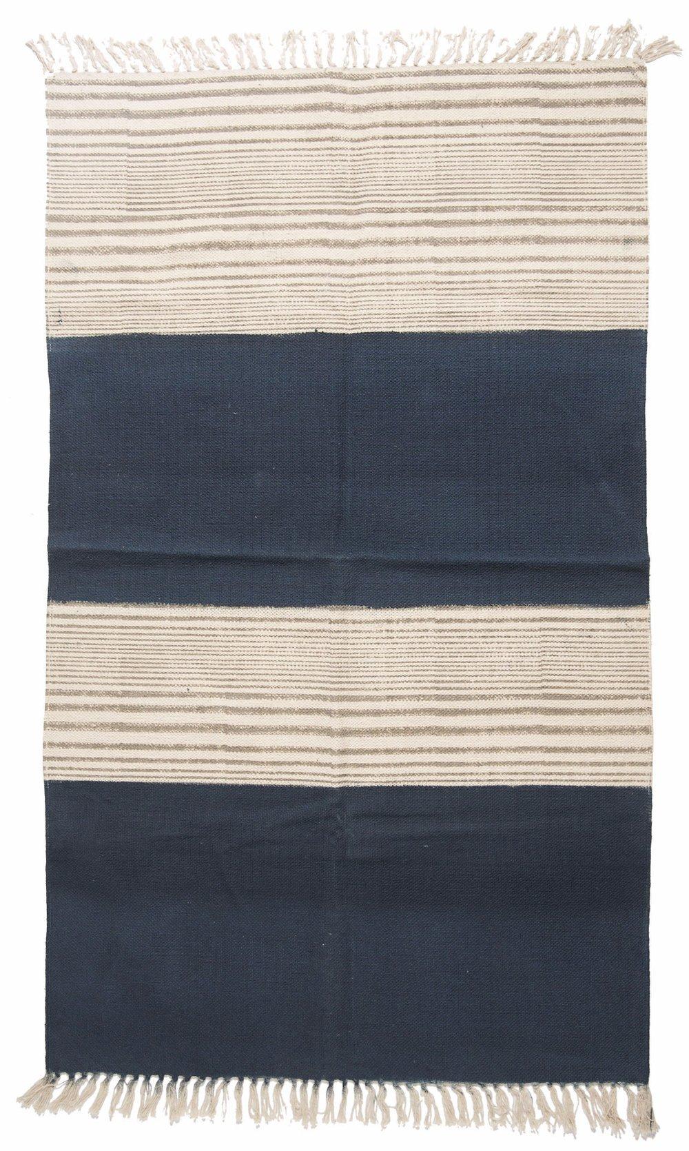 Mahadevi Block Hand Painted Cotton Rug