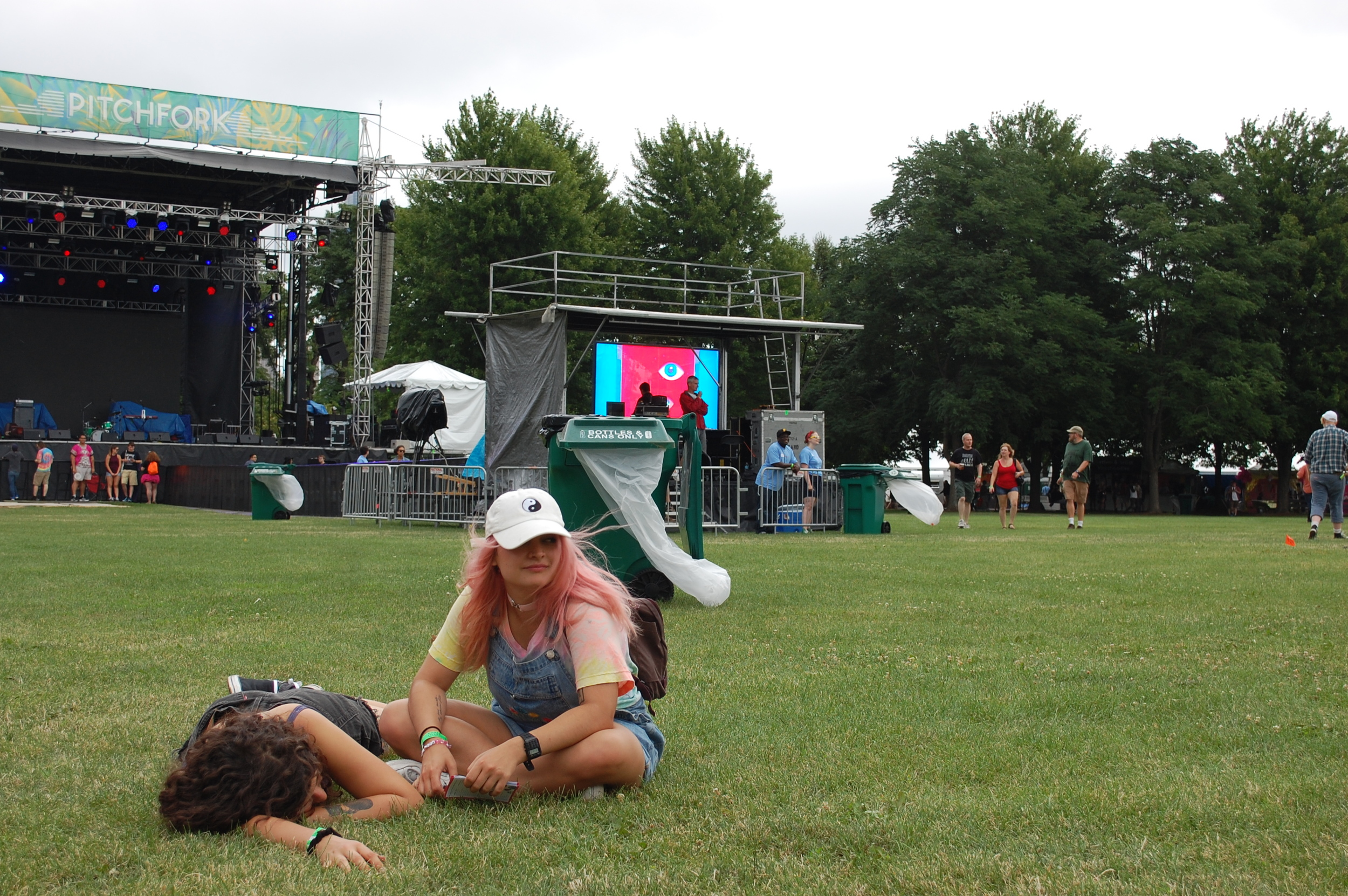Festival attendees relax before the first performances begin on Friday.