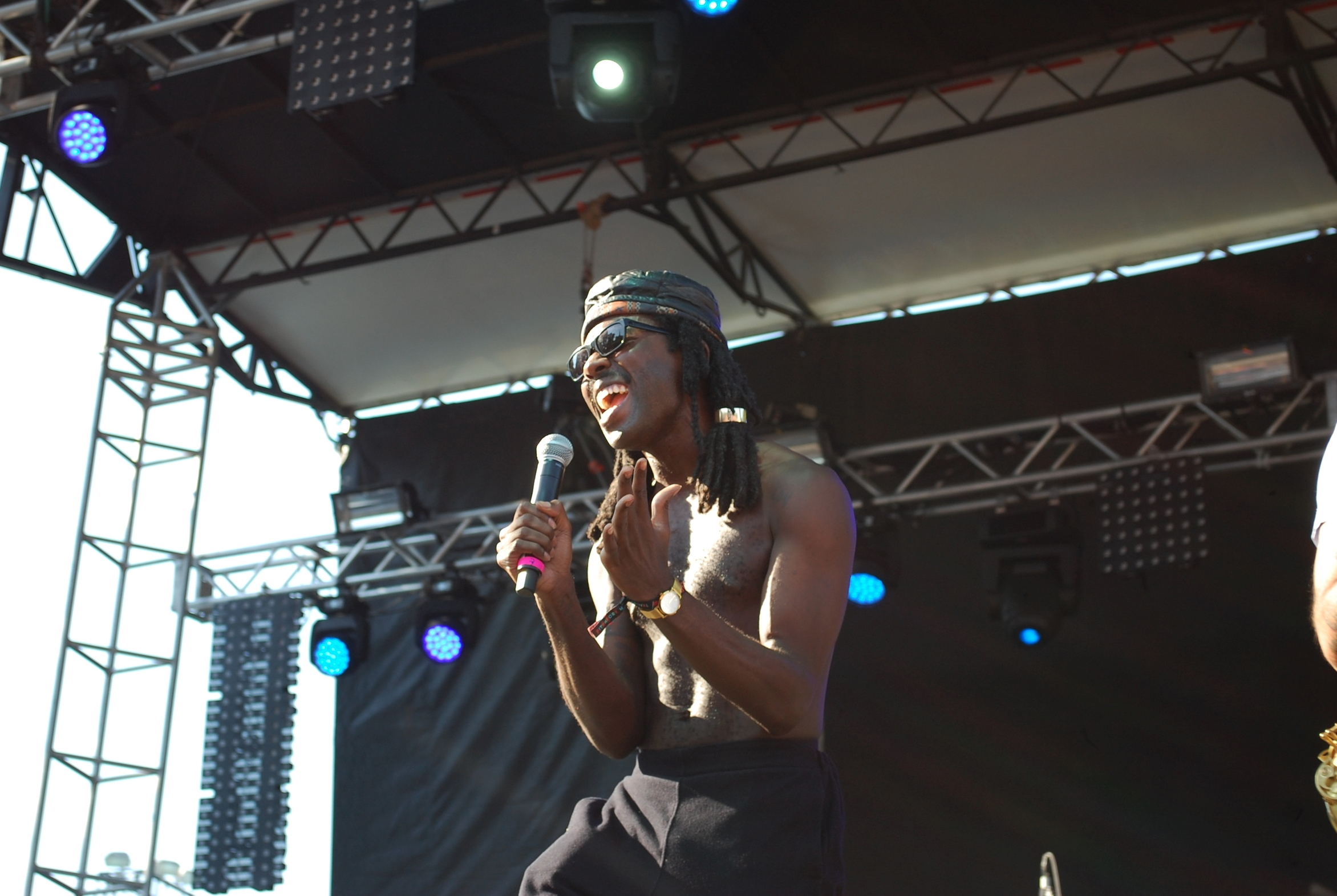 Dev Hynes of Blood Orange getting groovy at the Red Stage on Saturday.