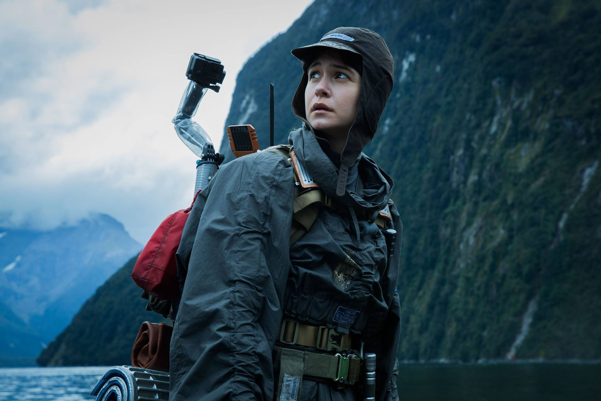 Here is Katherine Waterson donning a space-worthy custom anorak.