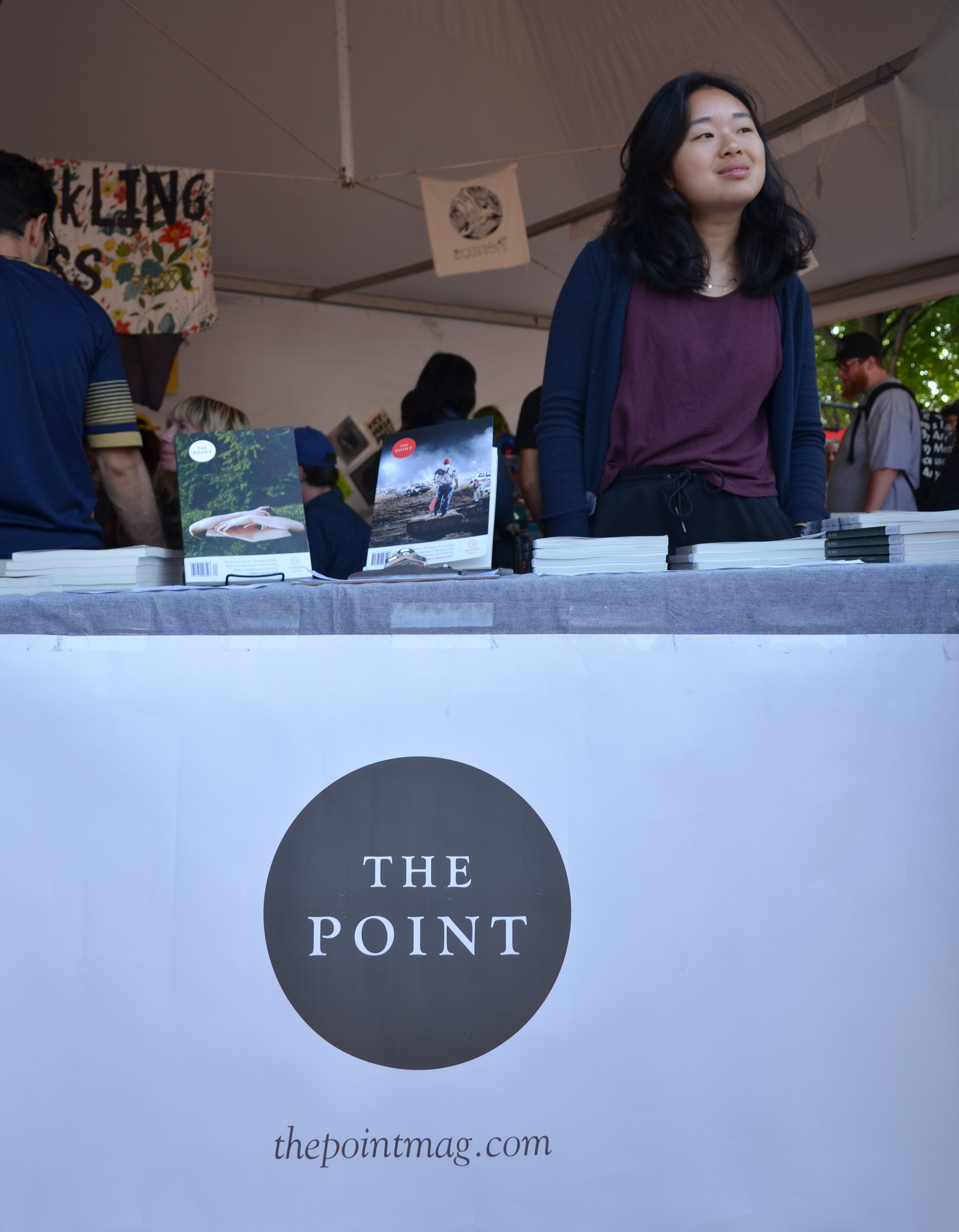 Editors managing The Point publishing table at Pitchfork. Photography by Megan Stringer.