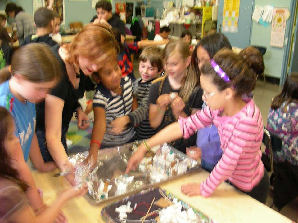 Students at PS 29 collaborate with teachers and professional artists to design and build their own art mobiles.
