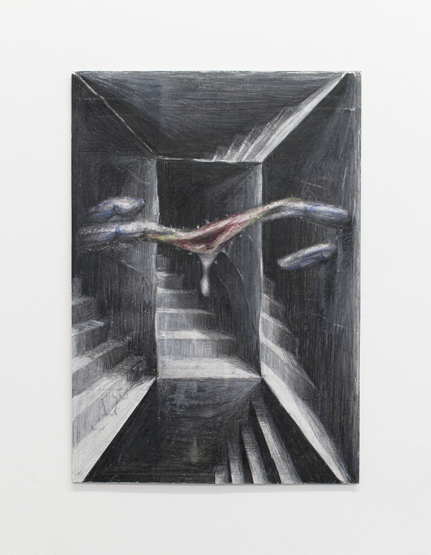 Stairway to Melon, coloured pencil on paper, 2017